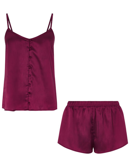 Satin Buttoned Vest Set, Red (BURGUNDY), large