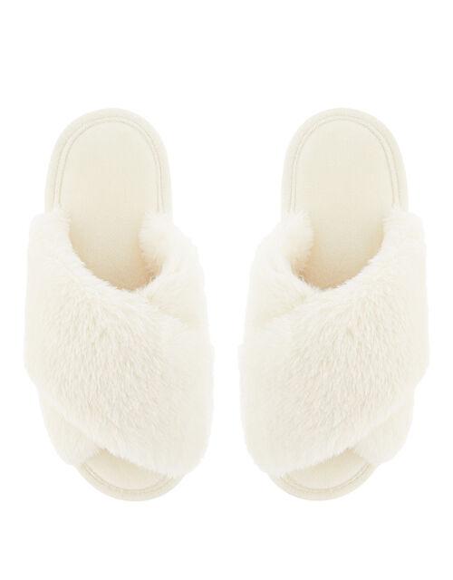 Fluffy Peep-Toe Slipper Sliders, Cream (CREAM), large