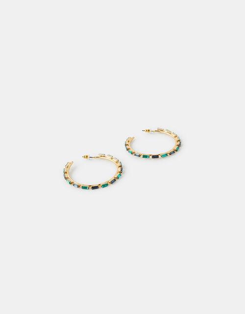 Baguette Gem Hoop Earrings, , large