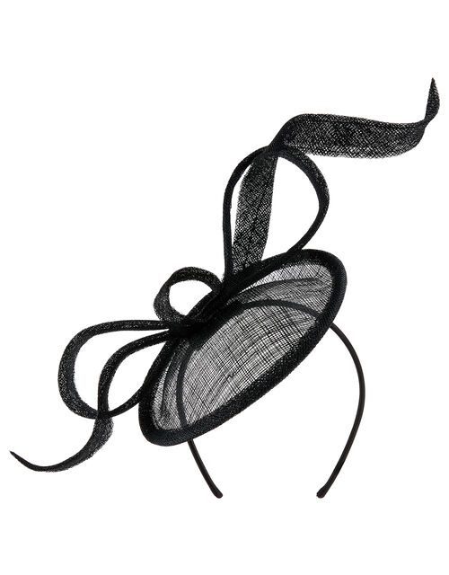 Bow Disc Fascinator, Black (BLACK), large