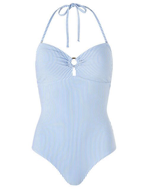 Bobbi Bandeau Swimsuit with Detachable Straps, Blue (BLUE), large