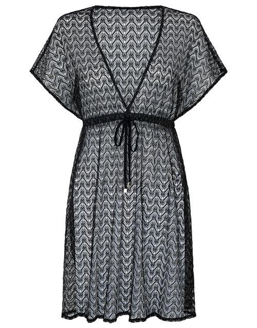 Shimmer Lace Tabbard Dress, Black (BLACK), large