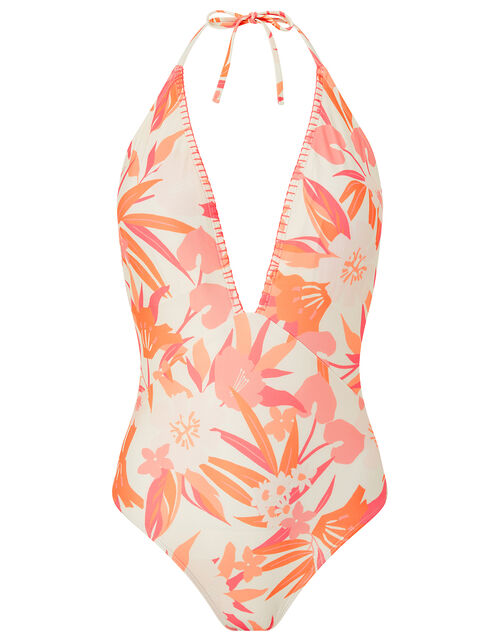 Printed Plunge Swimsuit with Recycled Polyester, Orange (CORAL), large