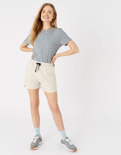 Stripe Print Jersey Shorts  Cream, Cream (TAUPE), large