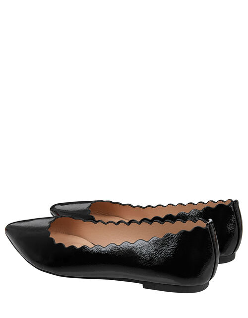 Patent Scallop Edge Flat Shoes, Black (BLACK), large