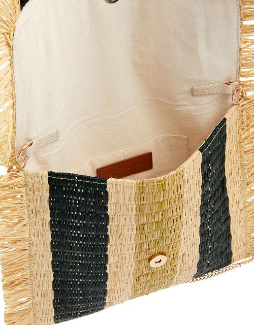 Striped Fringe Clutch Bag, , large