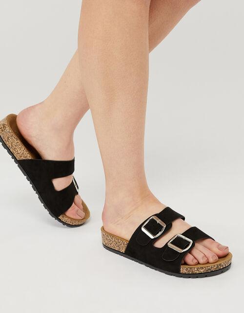 Glitter Strap Sliders, Black (BLACK), large