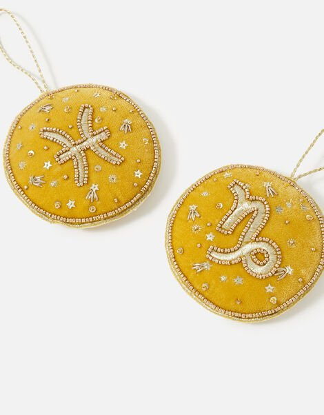Embellished Star Sign Hanging Decoration Yellow, Yellow (OCHRE), large