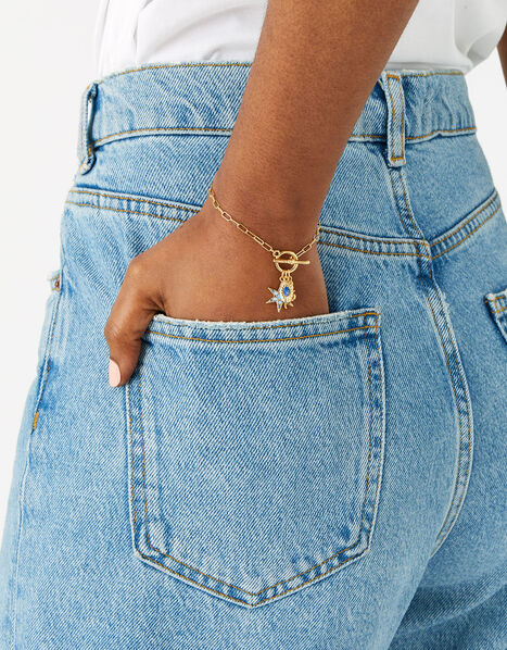 Gold-Plated Talisman T-Bar Bracelet, , large