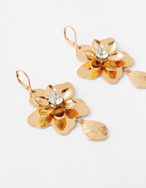 Sparkle Flower Drop Earrings, , large