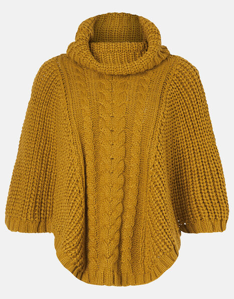 Cable Knit Poncho Yellow, Yellow (OCHRE), large