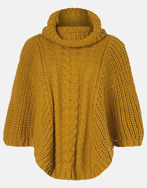 Cable Knit Poncho, Yellow (OCHRE), large
