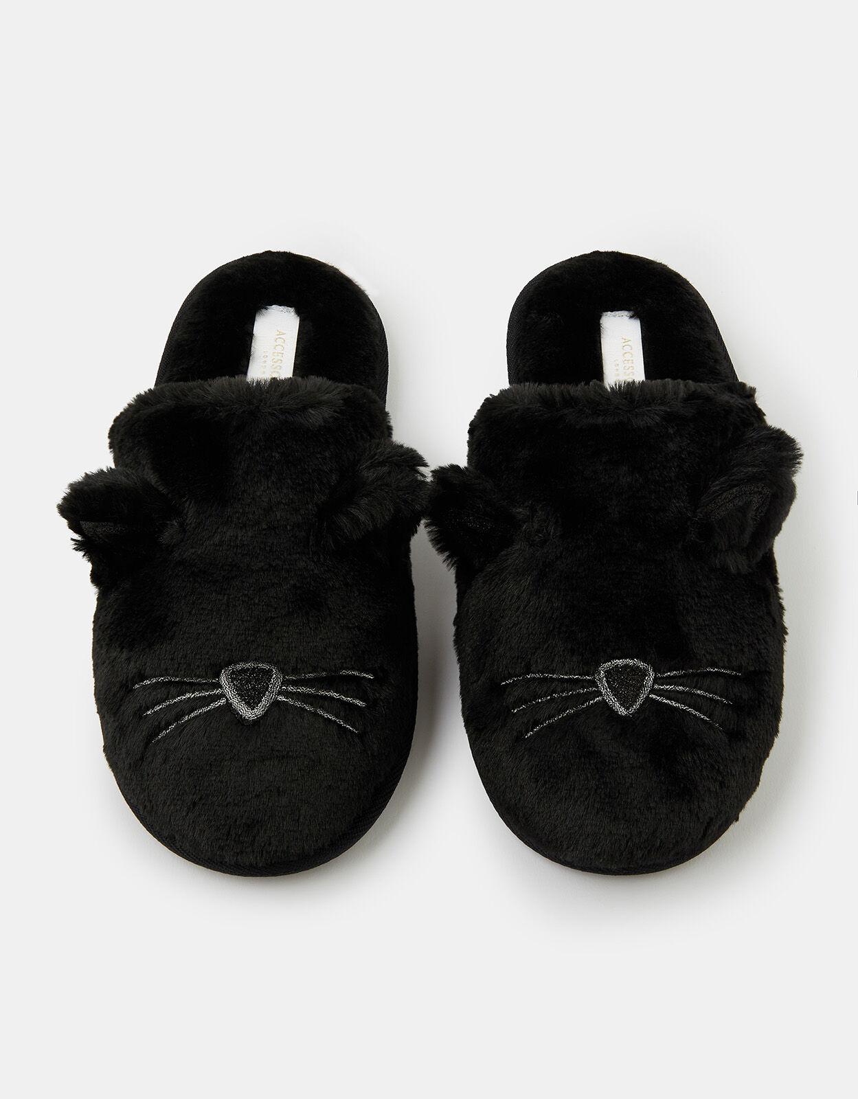 Fluffy Cat Mule Slippers Black