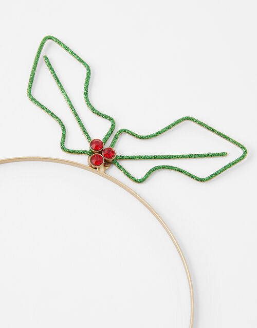 Wire Holly Sprig Headband, , large