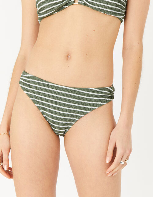 Stripe Bikini Briefs, Green (KHAKI), large