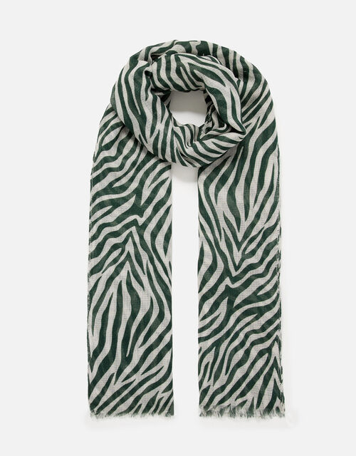 Zebra Print Scarf in Recycled Polyester, , large