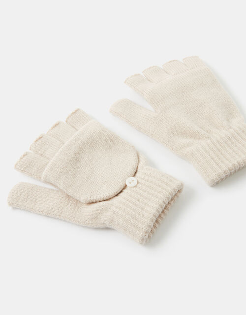 Plain Capped Gloves, Natural (NATURAL), large