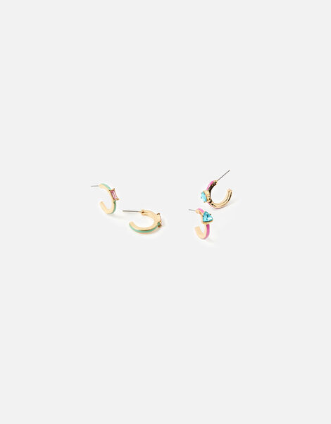 Coloured Gem Hoop Earring Set, , large