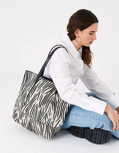 Zebra Leather Shopper Bag , , large