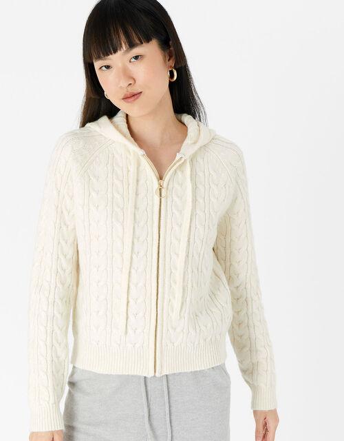 LOUNGE Knit Zip Hoody , Cream (CREAM), large