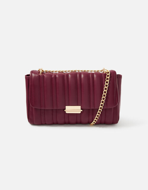 Carrie Chain Quilted Shoulder Bag , Red (BURGUNDY), large