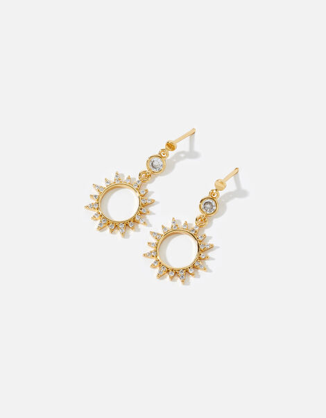 Gold-Plated Starburst Drop Earrings, , large