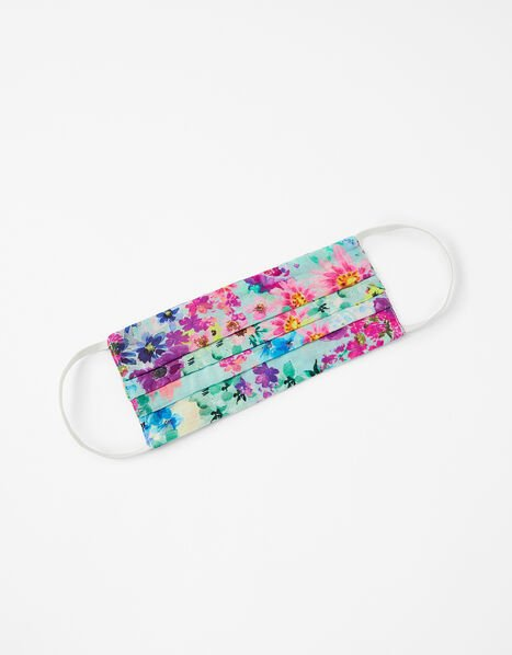 Bright Floral Face Covering in Pure Cotton, , large