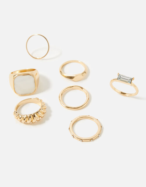 Reconnected Statement Signet Rings, Cream (PEARL), large