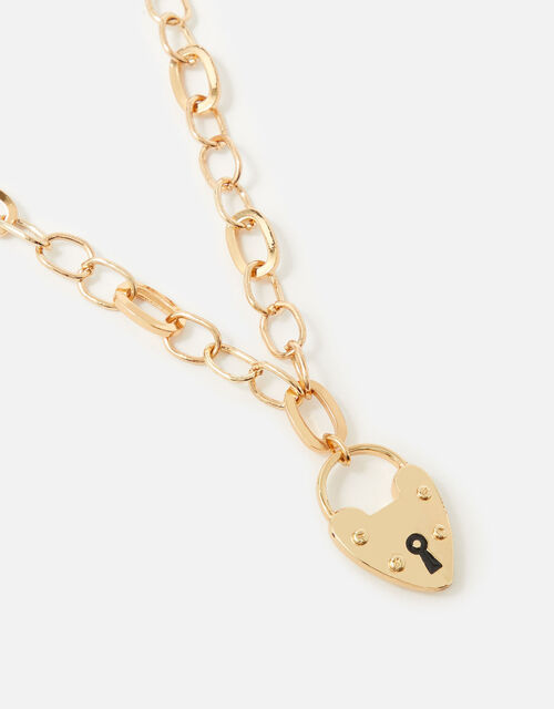 Berry Blush Heart Padlock Chain Necklace, , large