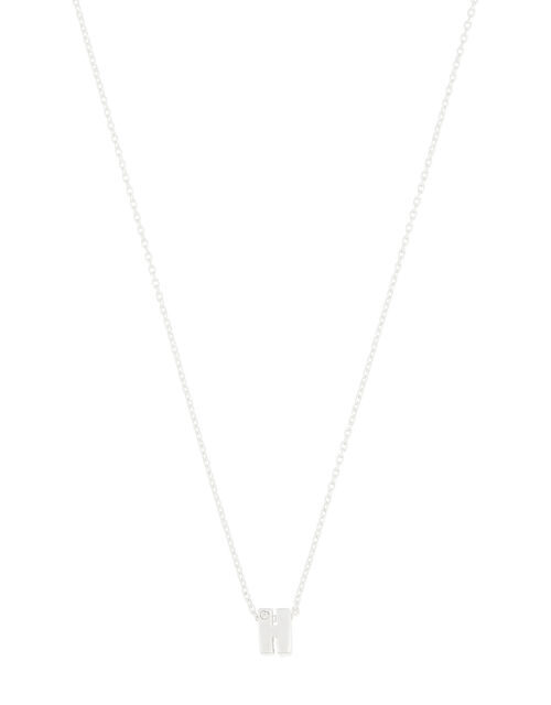 Sterling Silver Sparkle Initial Necklace - H, , large