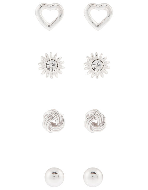 Sterling Silver Mix Stud Earring Multipack, , large