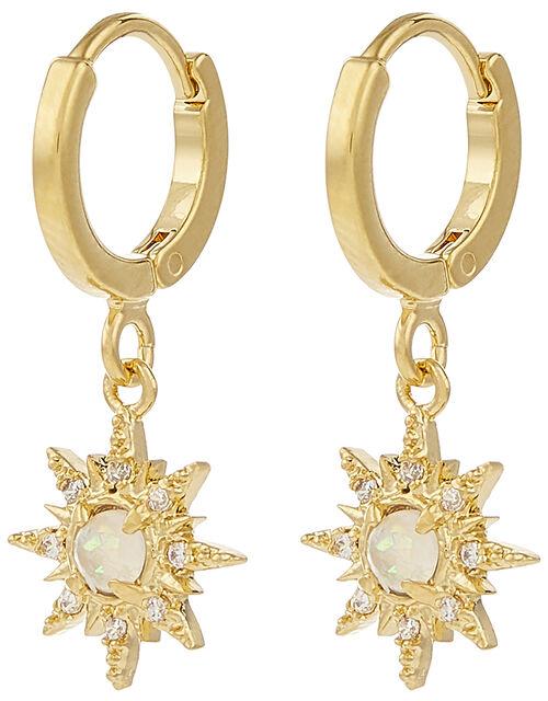 Gold-Plated Starburst Opal Huggie Hoops, , large