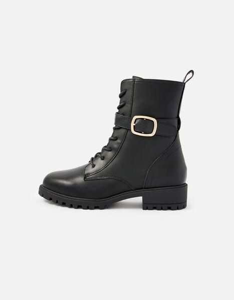 Lace-Up Biker Boots Black, Black (BLACK), large