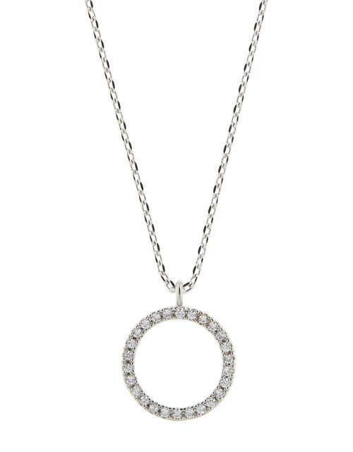 Platinum-Plated Crystal Circle Necklace, , large