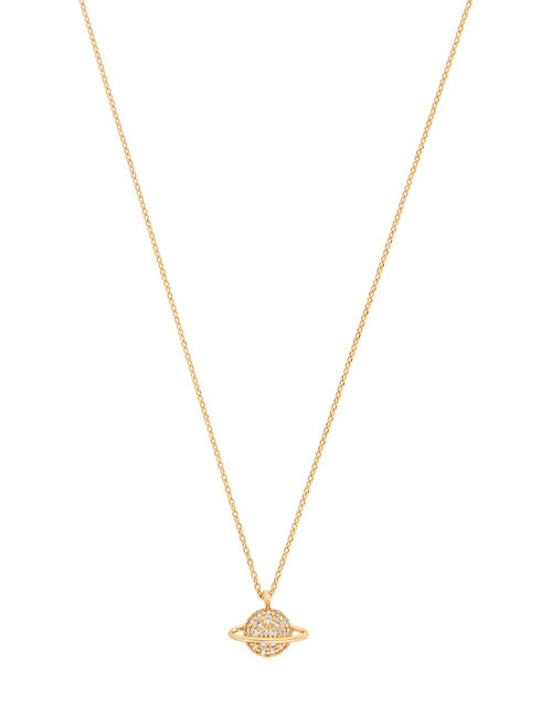 Gold-Plated Sparkle Planet Necklace, , large