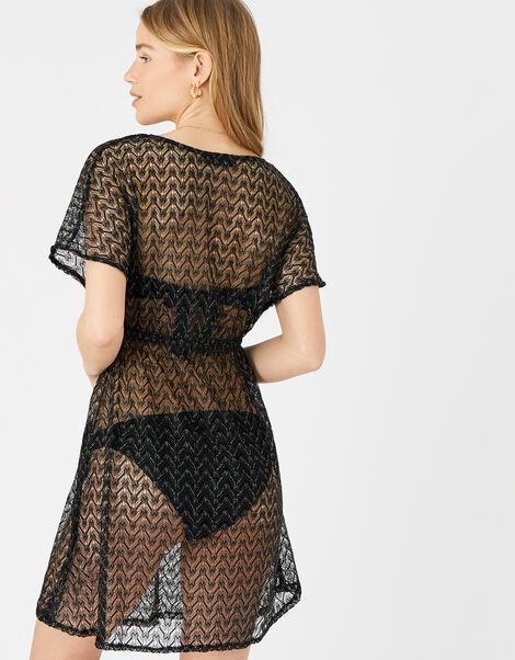 Shimmer Lace Tabbard Dress Black, Black (BLACK), large