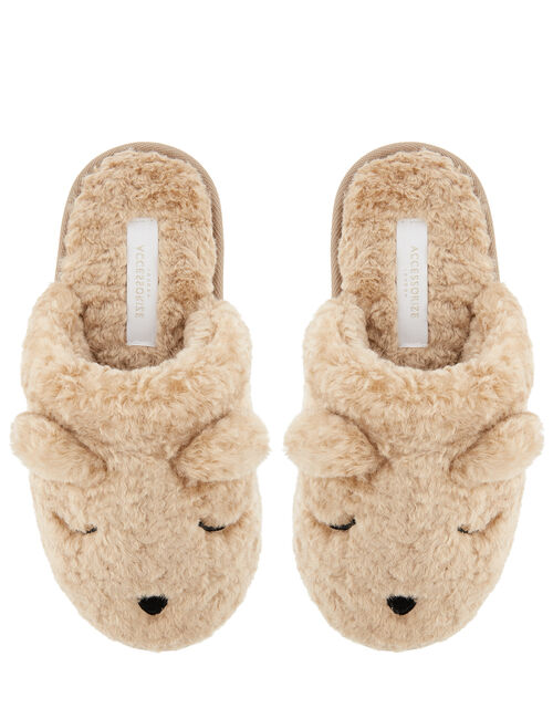 Teddy Fluffy Mule Slippers, Tan (TAN), large