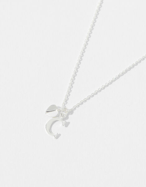 Sterling Silver Heart Initial Necklace - C, , large