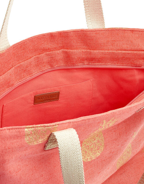 Metallic Pineapple Print Tote Bag, Orange (CORAL), large