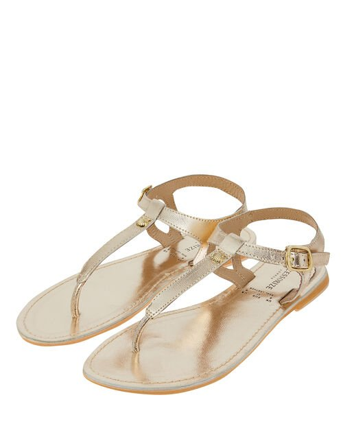 Seashell Charm Leather Sandals, Gold (GOLD), large