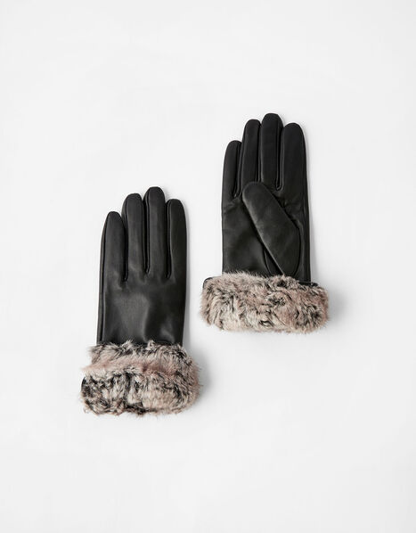 Faux Fur Trim Leather Gloves Black, Black (BLACK), large