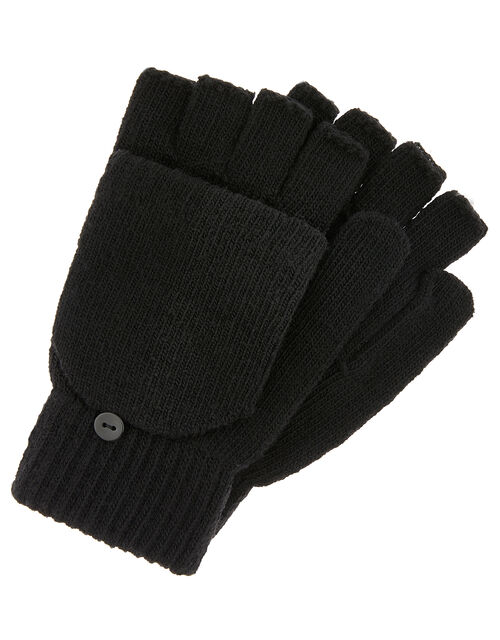 Capped Gloves with Recycled Polyester, Black (BLACK), large