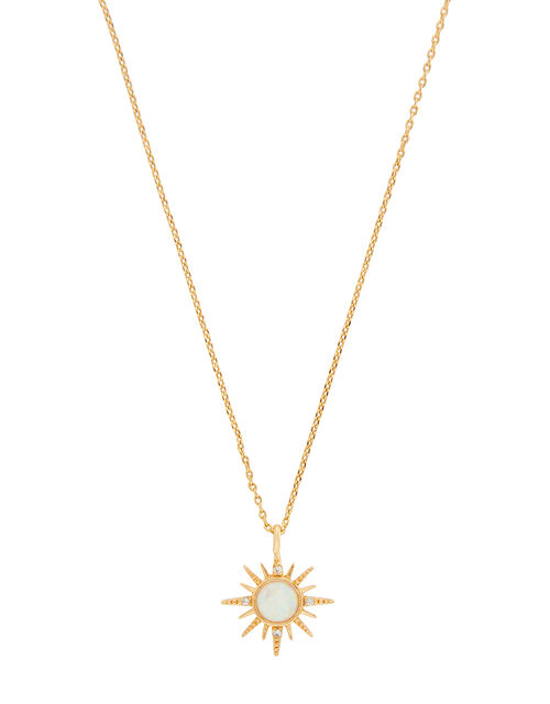 Gold-Plated Starburst Opal Necklace, , large