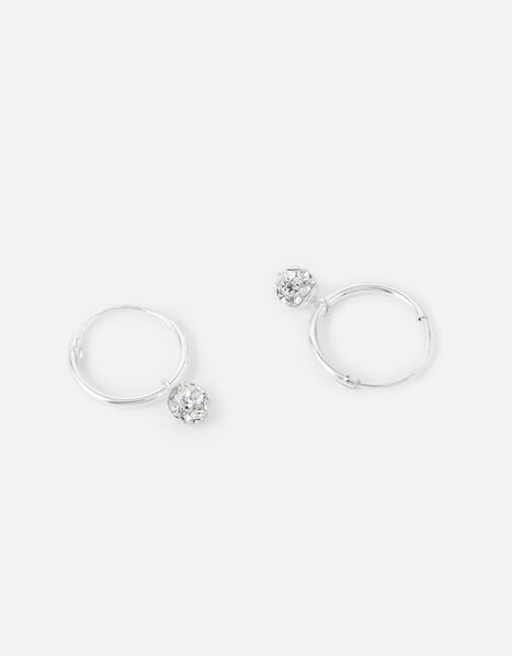 Sterling Silver Pave Ball Hoops , , large