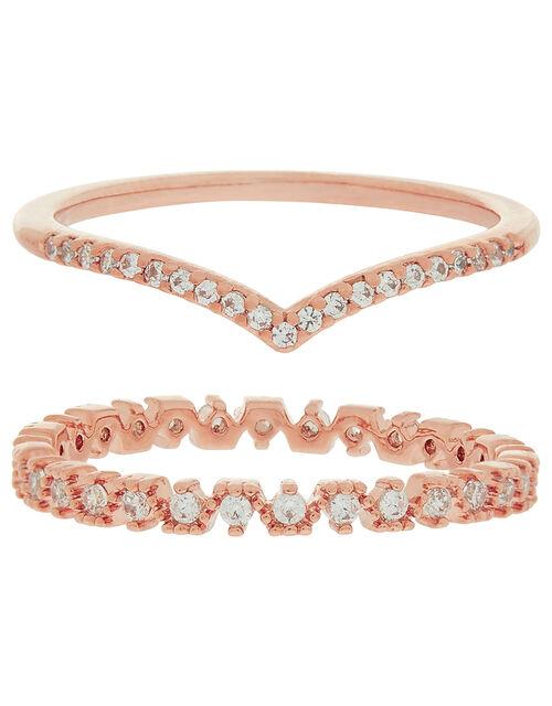 Rose Gold-Plated Sparkle Wishbone Ring Set, Gold (ROSE GOLD), large
