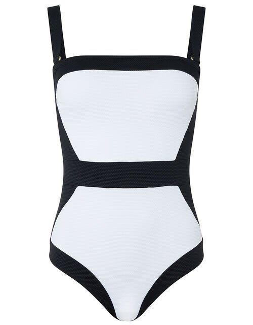 Illusion Textured Shaping Swimsuit, Black (BLACK), large