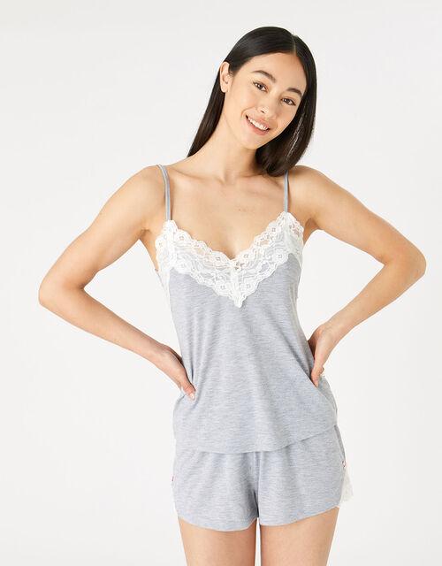 Teya Pyjama Vest and Shorts Set, Grey (GREY), large