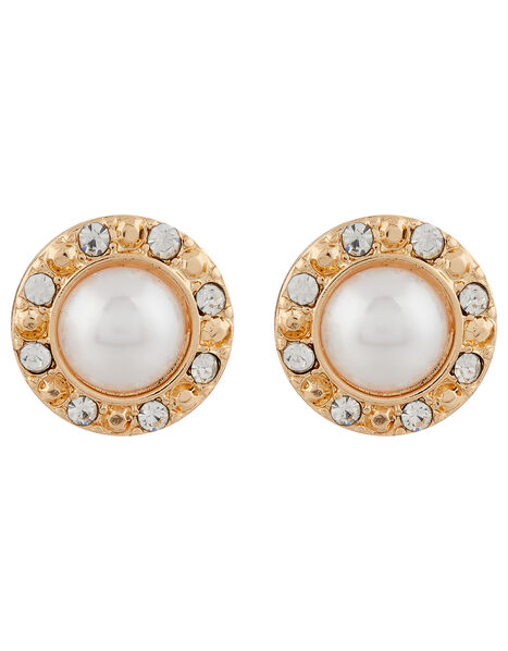 Pearl and Pave Stud Earrings, , large