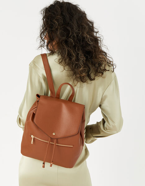 Kylie Drawstring Backpack Tan, Tan (TAN), large