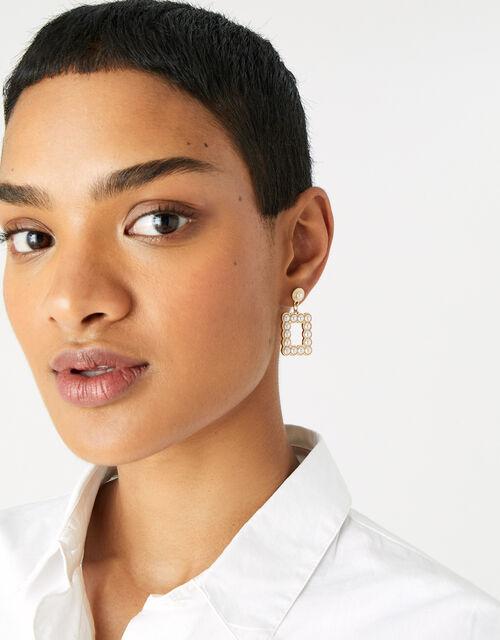 Midnight Sky Pearl Doorknocker Earrings, , large